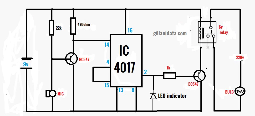 Clap on off switch with ic 4017