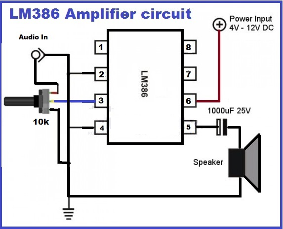 amplifier using lm386 ic
