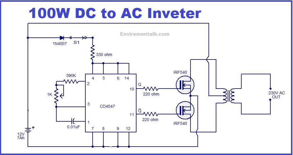100 watts inverter circuit working and applications - envirementalb.com  envirementalb.com