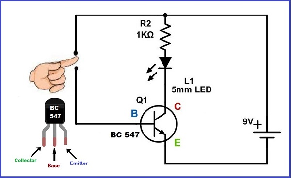 Touch on circuit using bc547