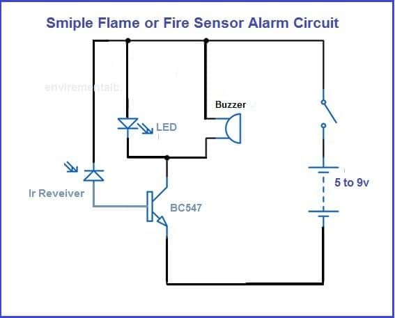 Fire Alarm Circuit using transistor