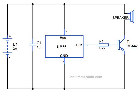 Melody Generator using ic and transistor